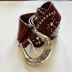 Accessories - Boho | Brown Studded Leather Belt